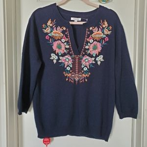 NWOT Johnny Was Cashmere Embroidered Sweater
